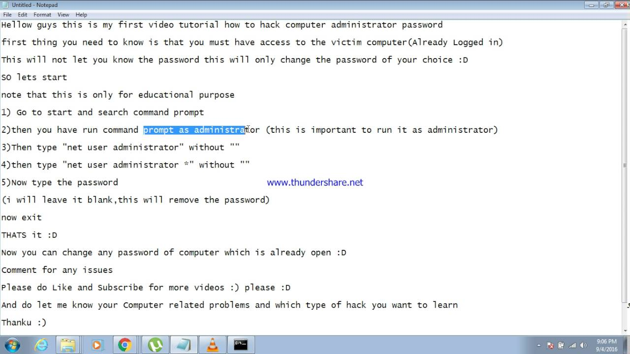 How to hack administrator password