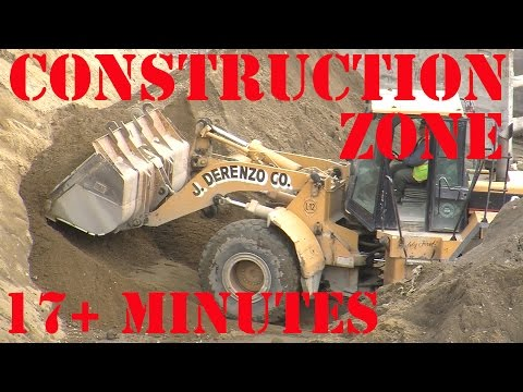 Bulldozers - Construction Zone 8 - Bulldozer in action and diggers excavating  17+ Minutes