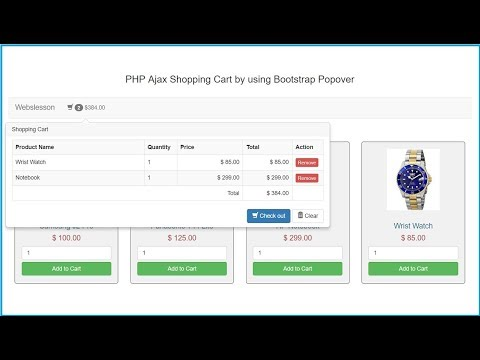 Ajax Shopping Cart in PHP using Bootstrap Popover