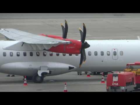 SAS ATR-72 OY-JZV parking at Hamburg Airport