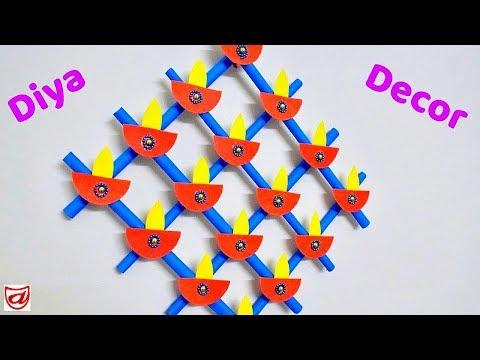 Paper Diya wall hanging craft making video | Diwali Home Decoration Idea