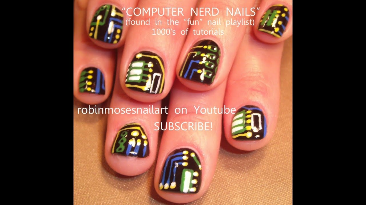 Easy Geek Nail Art for Short Nails | Computer Nerd Nails Design ...