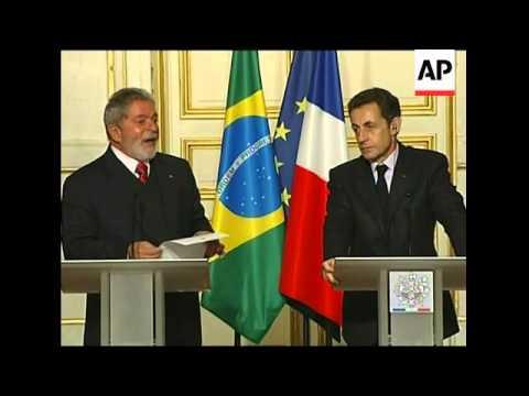 Sarkozy meets Lula, news conference