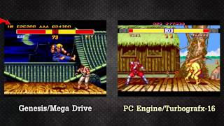 Street Fighter II Champion Edition: Genesis vs PC Engine side by side @ 60 FPS