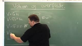 Volum og overflate av sylinder nr 1