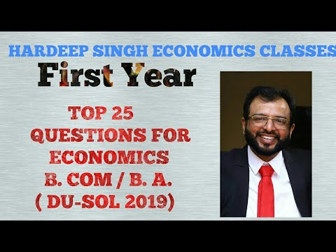 IMPORTANT QUESTIONS OF ECONOMICS FOR B.Com (P) and B.A (P) 1st Year
