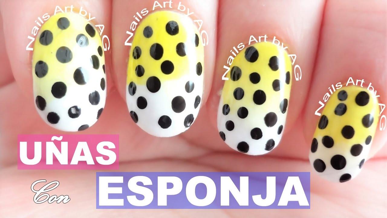 Decoración de uñas degradadas con esponja y puntos / Nails Art - YouTube