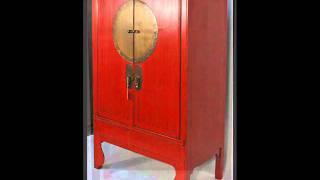 Chinese Antique Wedding Cabinet With Brass Zodiac Medallion _bk0010y.wmv