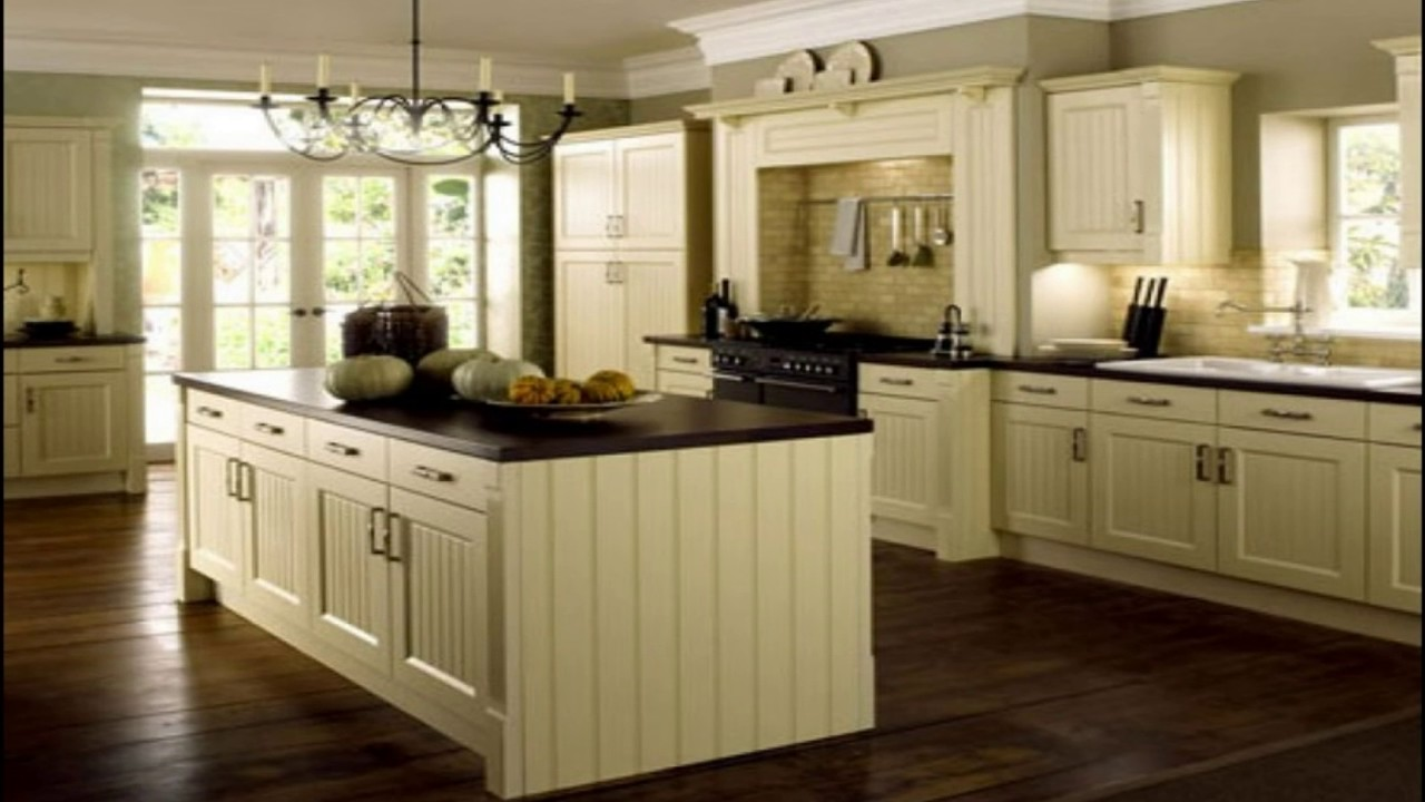 Cream Kitchen Cabinets With Black Countertops Youtube