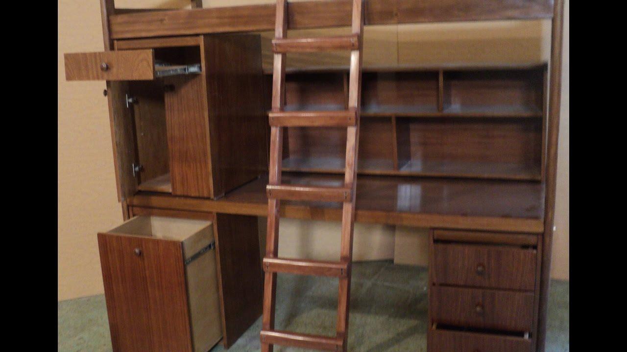 Cama con escritorio con cajones, repisa baranda y escalera. Fabrica ...