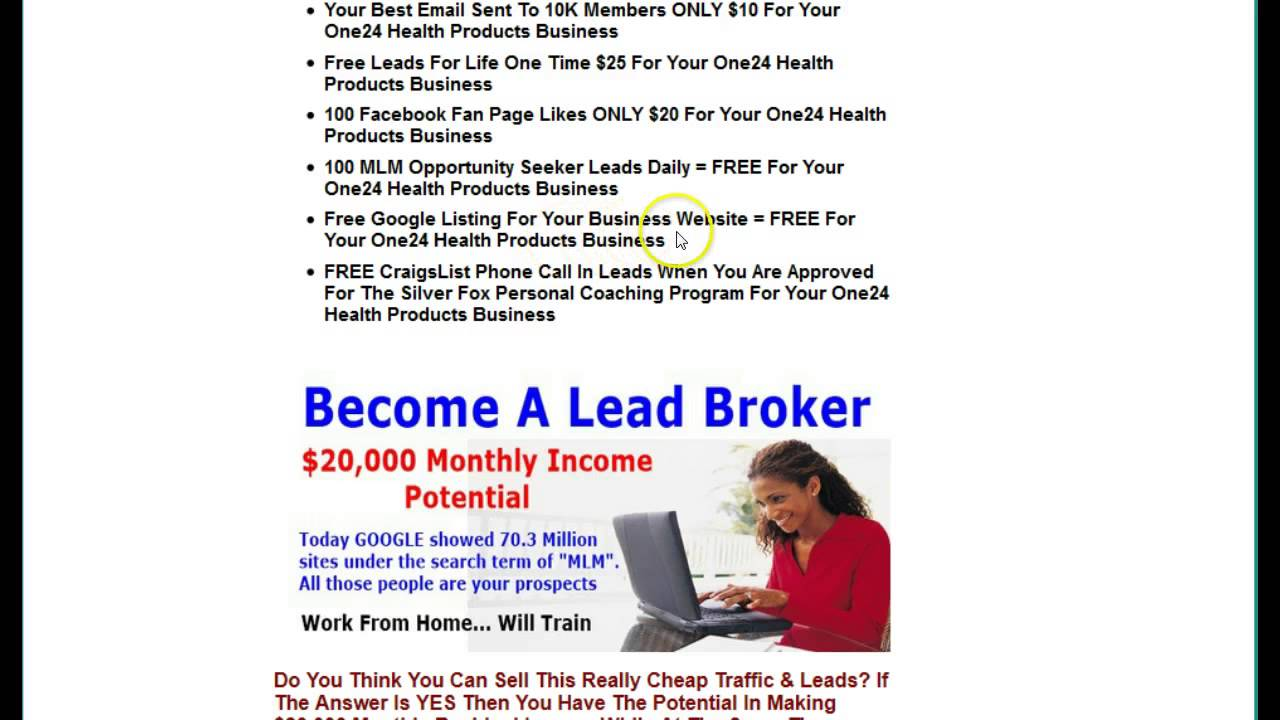 One24 Leads | Health Products 100 Free Leads Silver Fox - YouTube