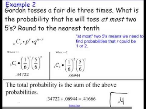 Binomial Probability At Least And At Most Youtube