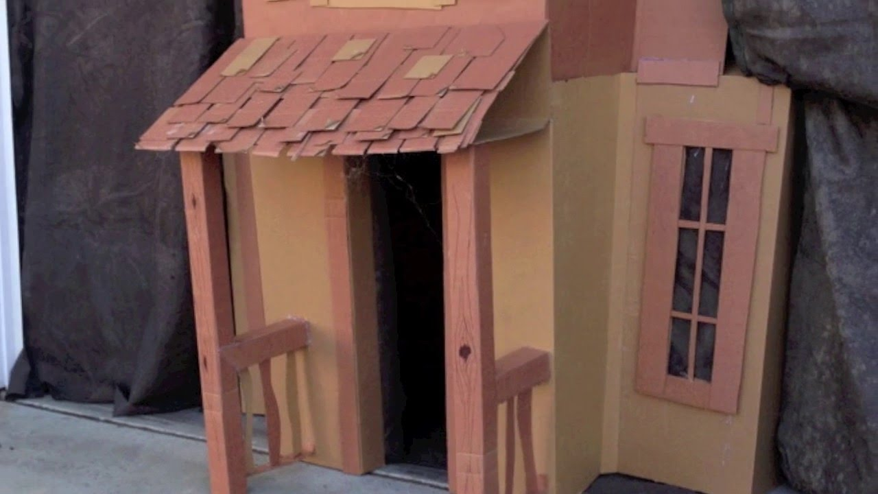 Haunted mansion cardboard cutout playhouse youtube for How to make a cardboard haunted house