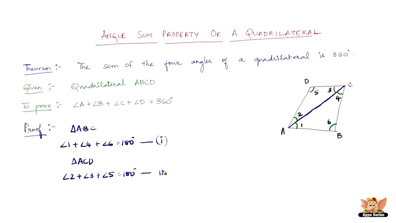 What Is The Angle Sum Property Of Quadrilateral Youtube
