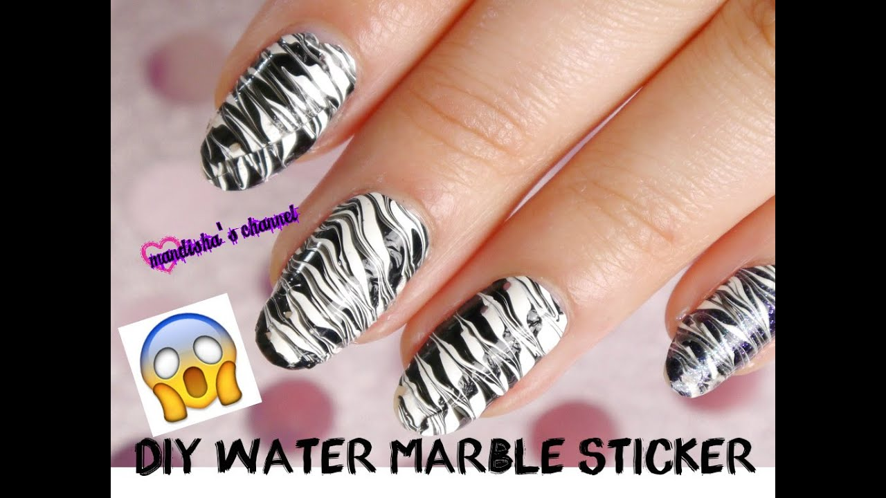 Make your own water marble nailart stickers - YouTube