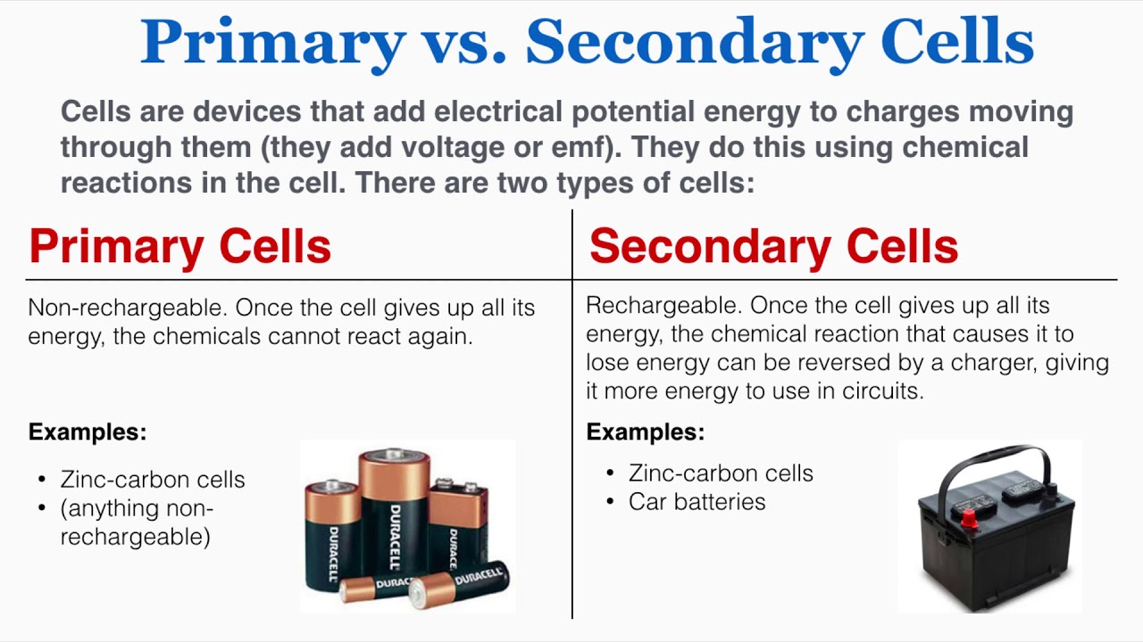 Primary vs. Secondary Cells - new radiant education