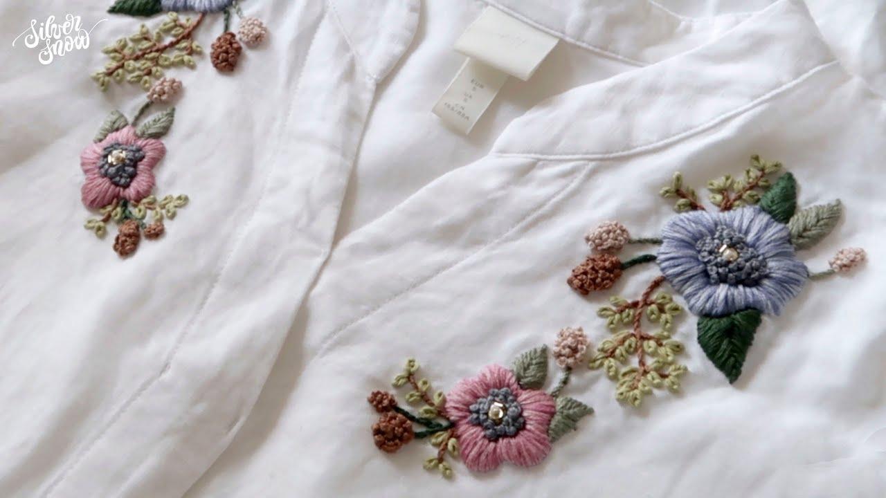 [프랑스 자수 SUB] 빈티지한 색감의 꽃 자수 / Vintage Flowers Hand Embroidery