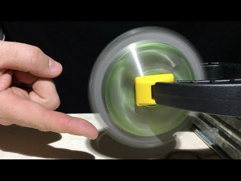 SAW BLADE FIDGET SPINNER VS FINGER   How Dangerous is a 99999 RPM Fidget Spinner?