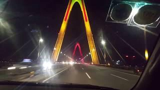 The flashing, multicoloured Nhat Tan Bridge in Hanoi