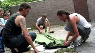 Homeless demo Backpack Bed by Swags for Homeless to other street sleepers