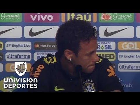 Neymar rompe en llanto en plena conferencia de prensa cuando lo defiende su entrenador