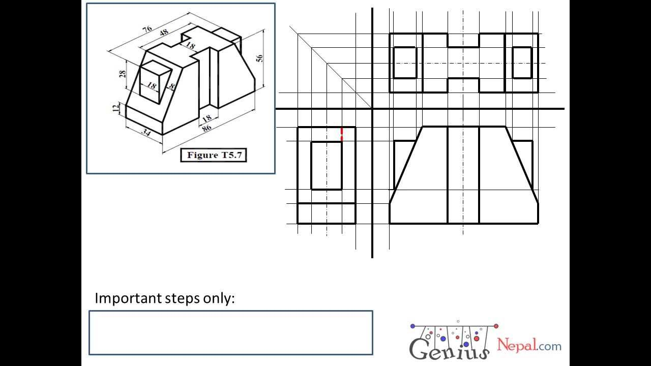 Engineering Drawing Tutorials/Orthographic drawing 1 with