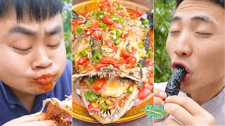 Anglerfish with Spicy Chili & Spicy Squid Sausage || TikTok Funny Mukbang || Songsong and Ermao