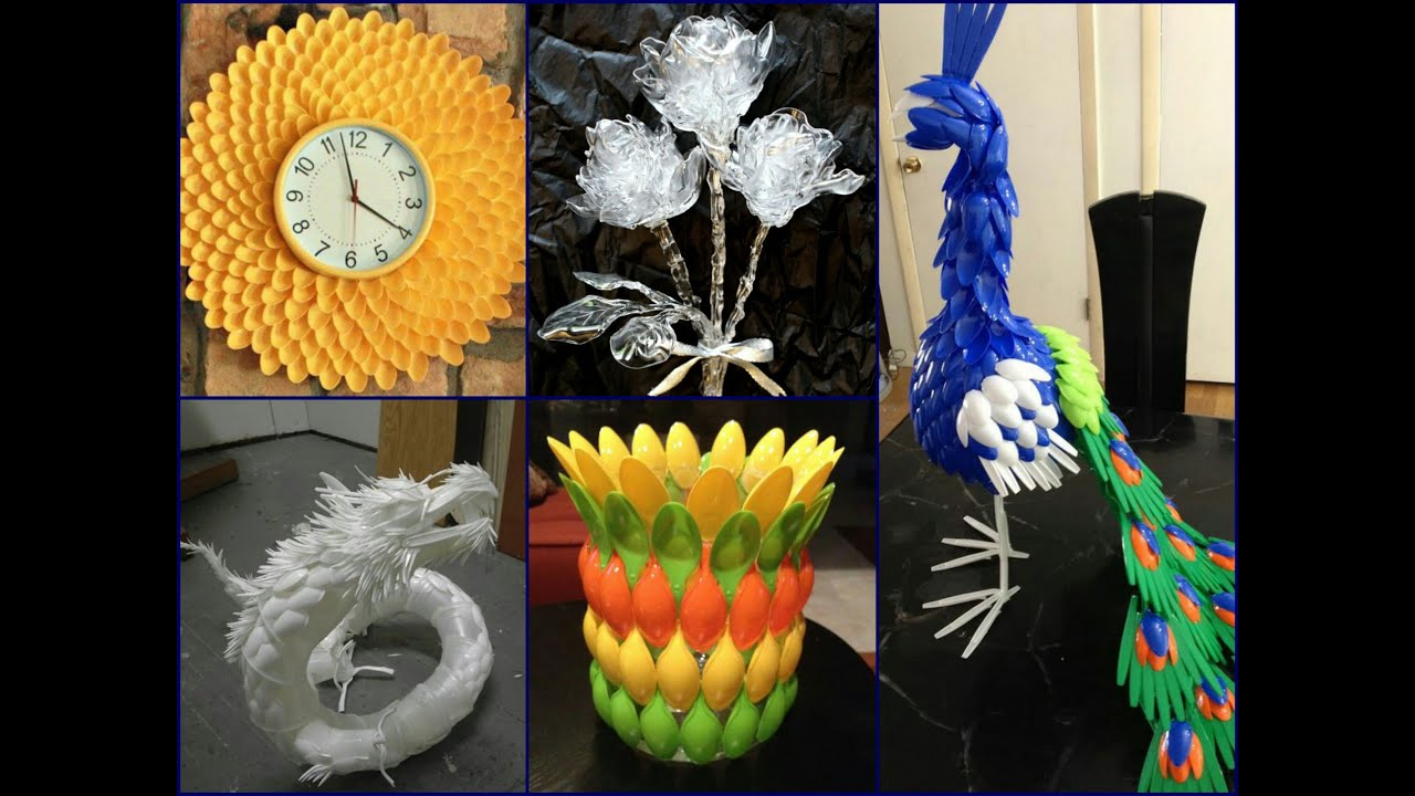 Plastic spoon craft ideas recycled home decor youtube for Images of decorative items made from waste material