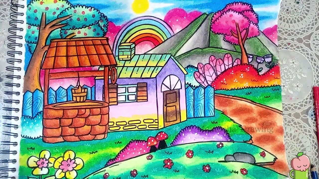 How To Draw Village Scenery For Kids Step By Step