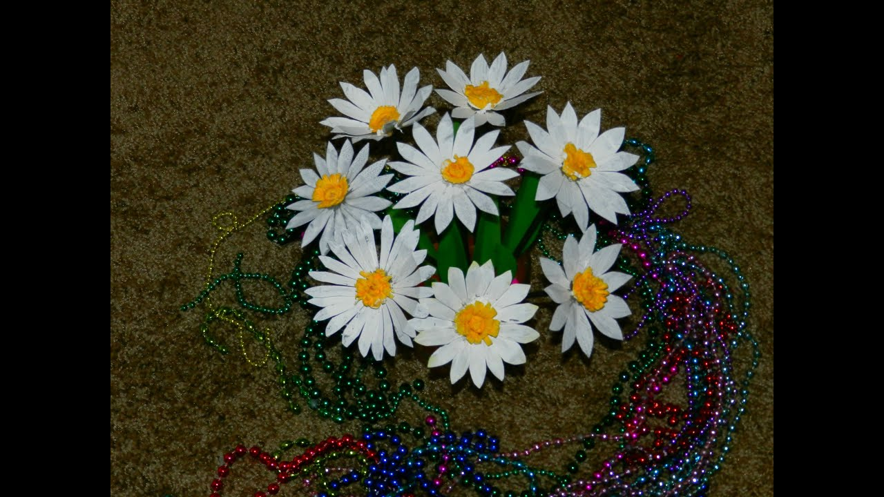 recycled diy  how to make daisy flowers with waste plastic carton