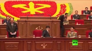 لحظة انتخاب كيم جونغ أون رئيسا لحزب العمال الكوري