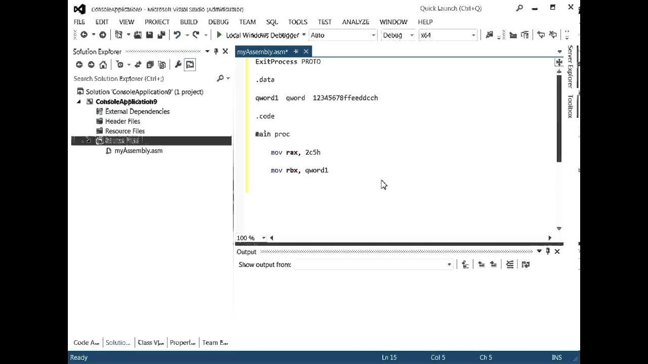 write assembly in visual studio