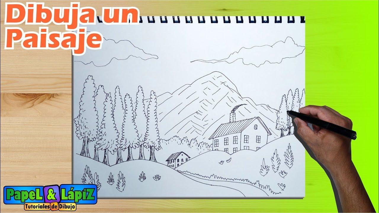 Aprende a dibujar un paisaje paso a paso  YouTube
