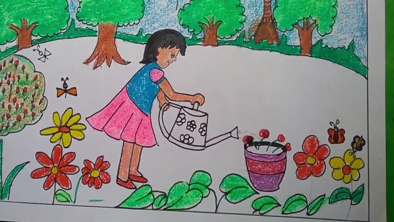 How to draw garden scenery step by step for kids l simple ...