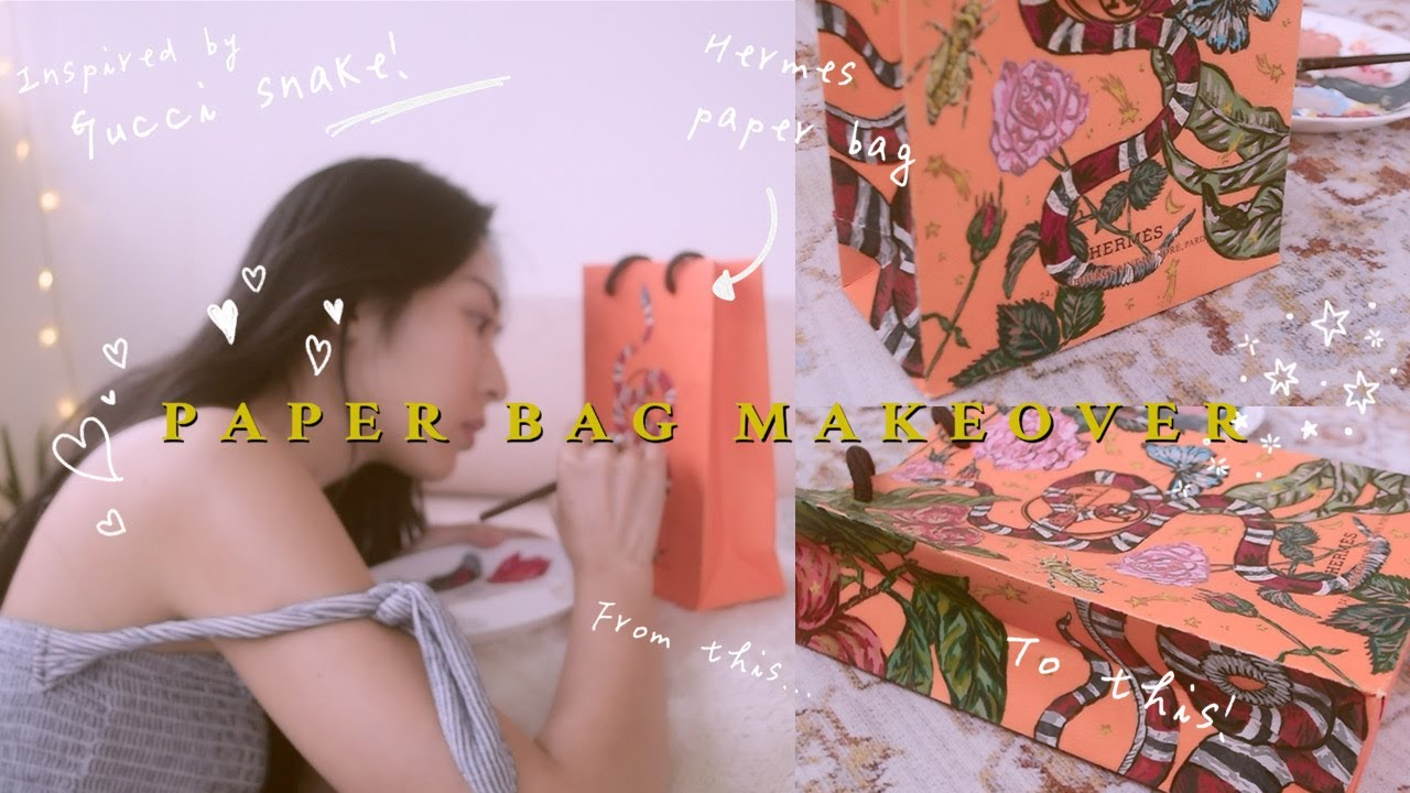 [不畫畫紙系列] Hermes紙袋改造👜 PAPER BAG MAKEOVER(inspired by Gucci snake!🐍🍎✨) | onki