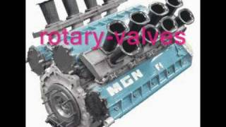 F1 engine MGN W12 with  rotary valves. F1 Motor mit Drehschieberinlass