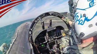 大迫力のコックピット映像:空母からカタパルト射出されるEA-18G & F/A-18F