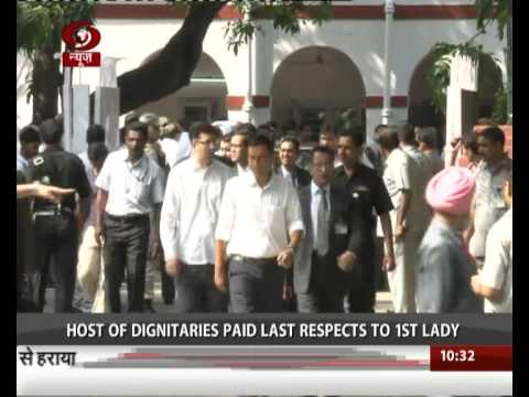 Last rites of the India's First Lady to be held today