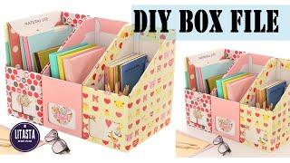 DIY Box file dengan memanfaatkan kardus tidak terpakai