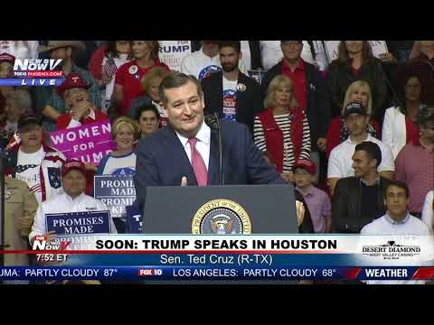 VYING FOR RE-ELECTION: Sen. Ted Cruz (R-TX) at #MAGArally in Houston (FNN)