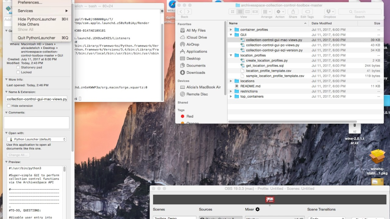 ArchivesSpace Collection Control Screencasts: Run Python Scripts on a Mac