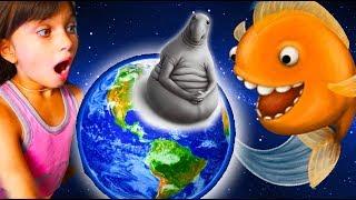 Tasty blue ГОЛОДНАЯ РЫБКА и ЖДУН съела землю  #1 приключения мультик игра видео для детей