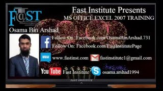 Fast Institute Presents EXCEL TRICK in Urdu by Osama Bin Arshad