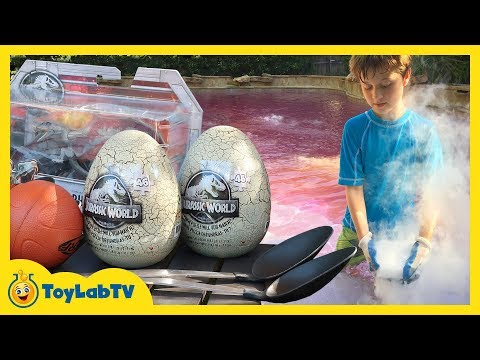 Dinosaur Outdoor Games! Jurassic World Fallen Kingdom Toys, Giant T-Rex & Kids Dinosaurs