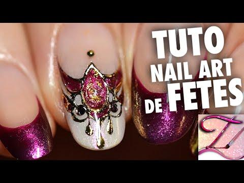Tuto nail art spécial fêtes  bijou dongle chic  luxe en gel foil