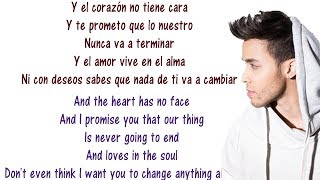Prince Royce - Corazón sin cara - Lyrics English and Spanish - Heart Without a Face - Translation
