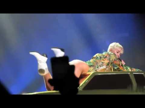 Miley Cyrus trying to twerk.