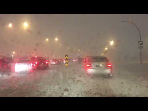 Winter weather in Montreal 15/03/2017, Storm Drive night