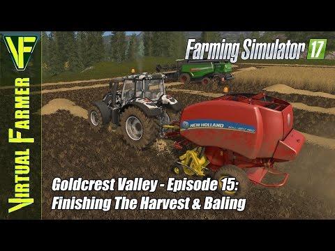 Let's Play Farming Simulator 17 - Goldcrest Vallery Episode 15: Finishing The Harvest & Baling