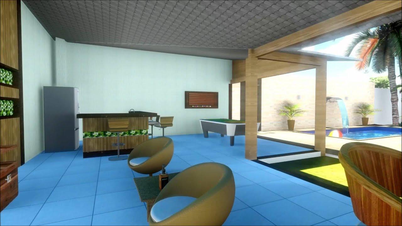 #286DA3 Projeto 3D Casa com área de lazer projetada pelo Ateliê Art Design  1920x1080 px Projeto De Cozinha Com Area De Lazer #2817 imagens